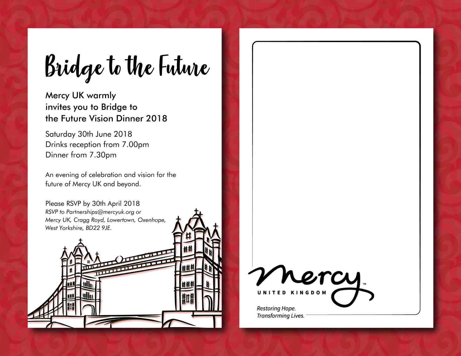 modern upmarket charity invitation design for mercy uk by annie