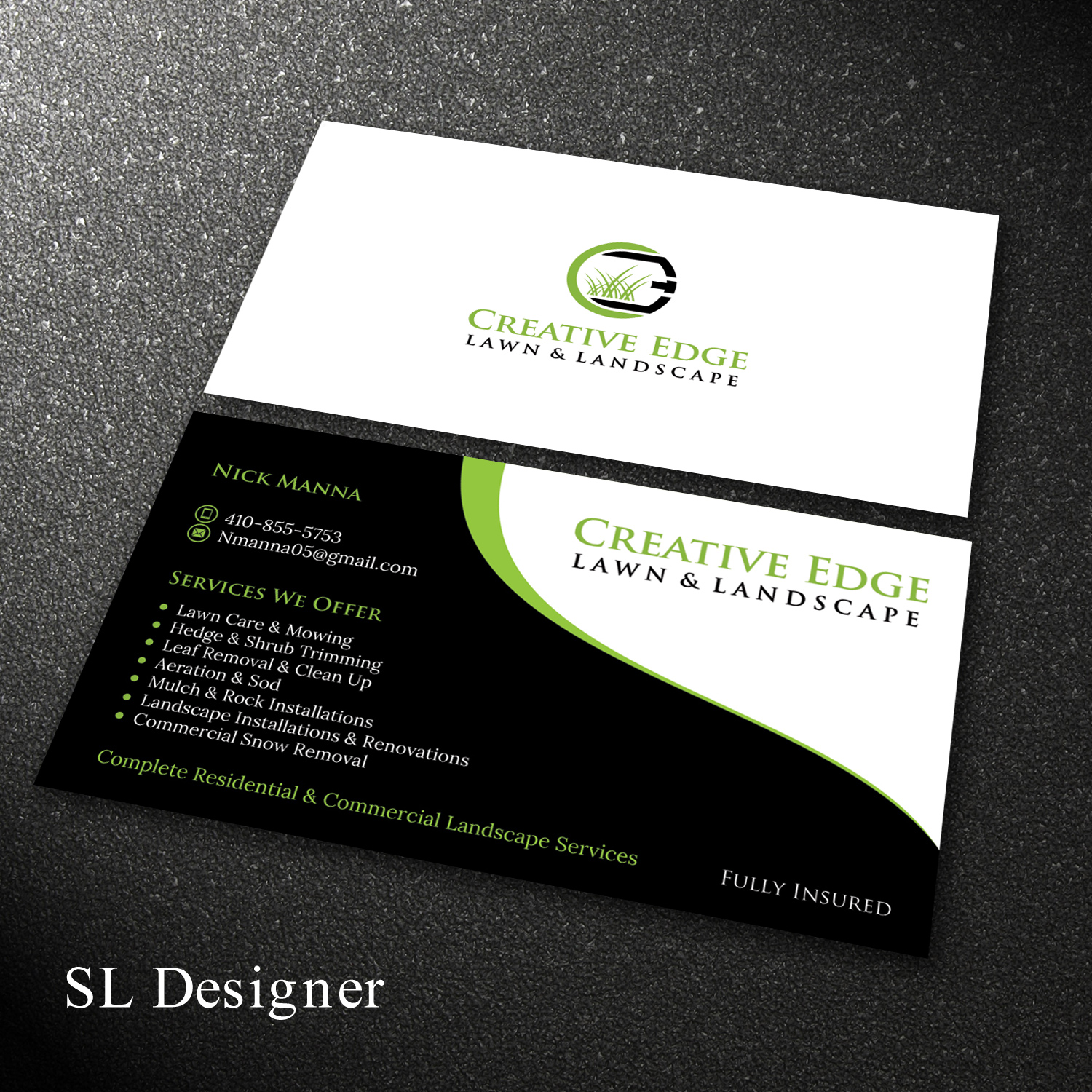 Bold, Serious, Landscape Business Card Design for a Company in United  States | Design 18011790 - Bold, Serious, Landscape Business Card Design For A Company By SL