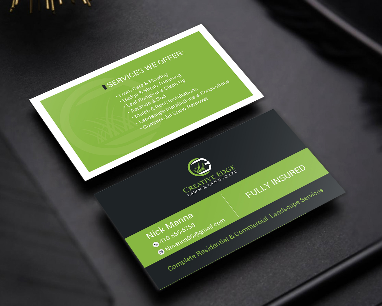 Bold Serious Landscape Business Card Design For A Company By