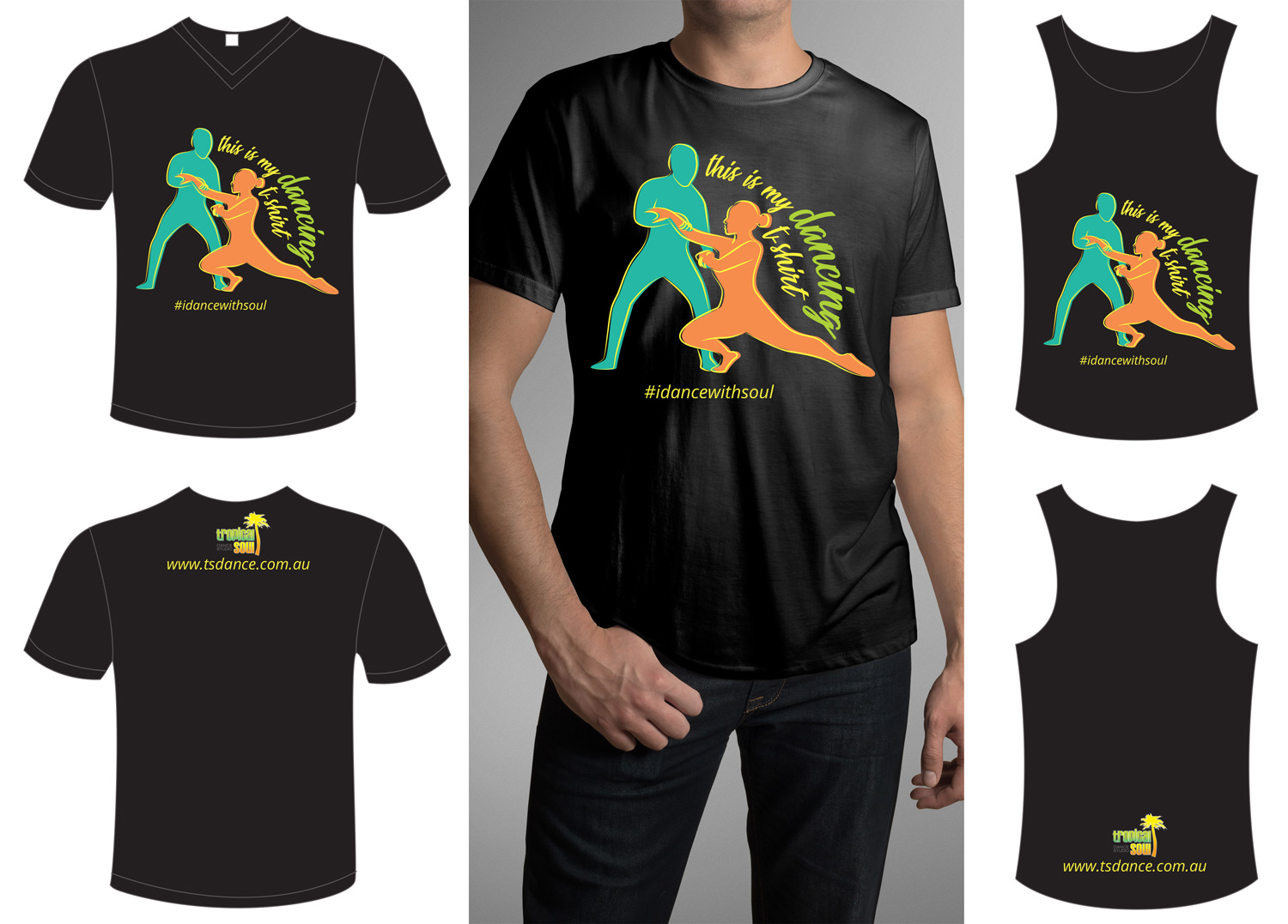 Modern Upmarket Dance Studio T Shirt Design For Tropical Soul