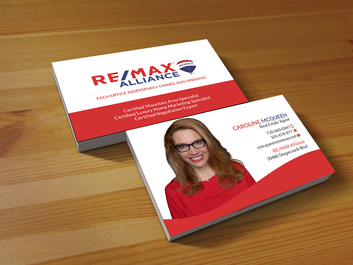 Feminine elegant real estate agent business card design for remax business card design by creations box 2015 for remax alliance design 18013375 reheart Image collections