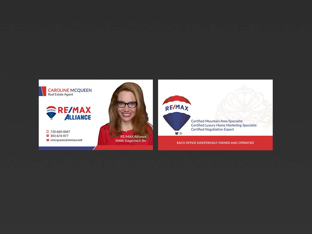 Feminine elegant real estate agent business card design for remax business card design by creations box 2015 for remax alliance design 18013377 reheart Image collections