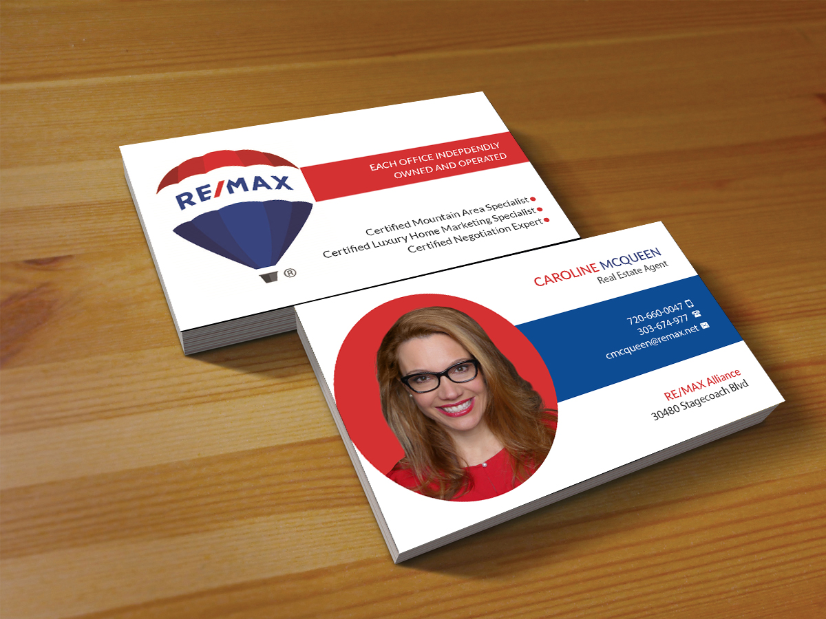 Feminine elegant real estate agent business card design for remax business card design by creations box 2015 for remax alliance design 18016235 reheart Image collections