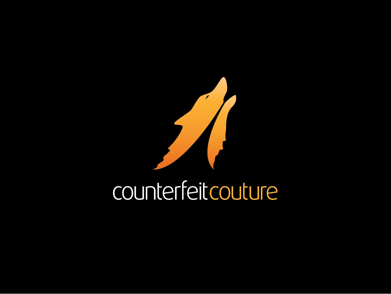 modern bold clothing logo design for counterfeit couture by