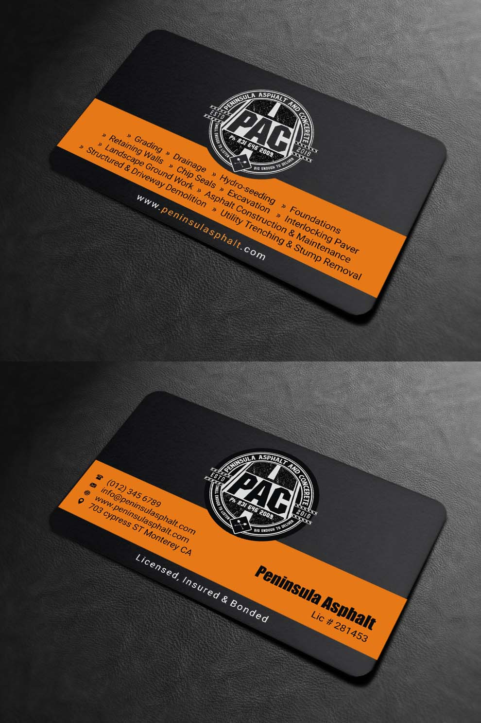 business card design by indian_ashok for peninsula asphalt and concrete design 18059977 - Contractor Business Cards