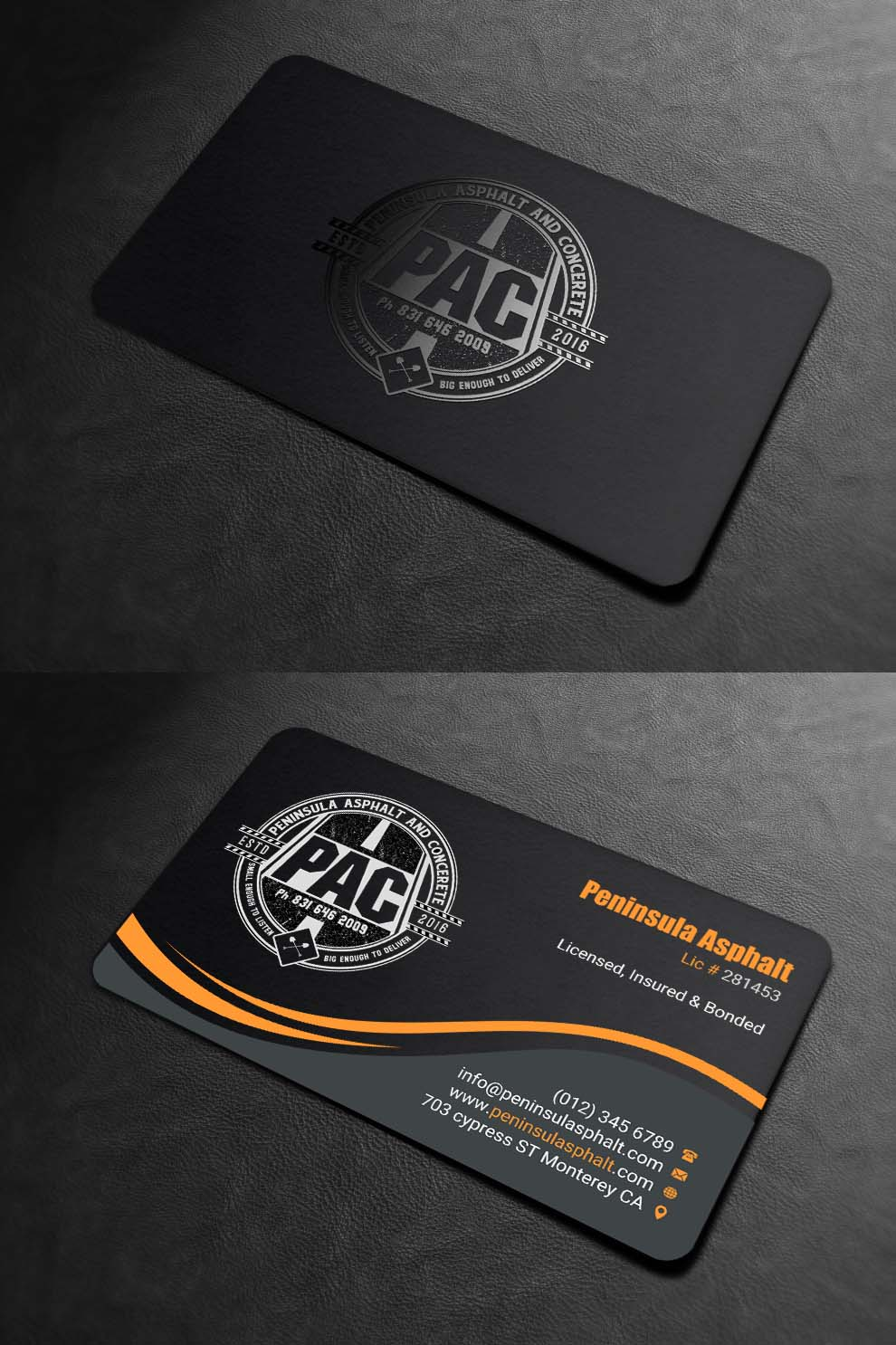 Masculine Bold Contractor Business Card Design For Peninsula