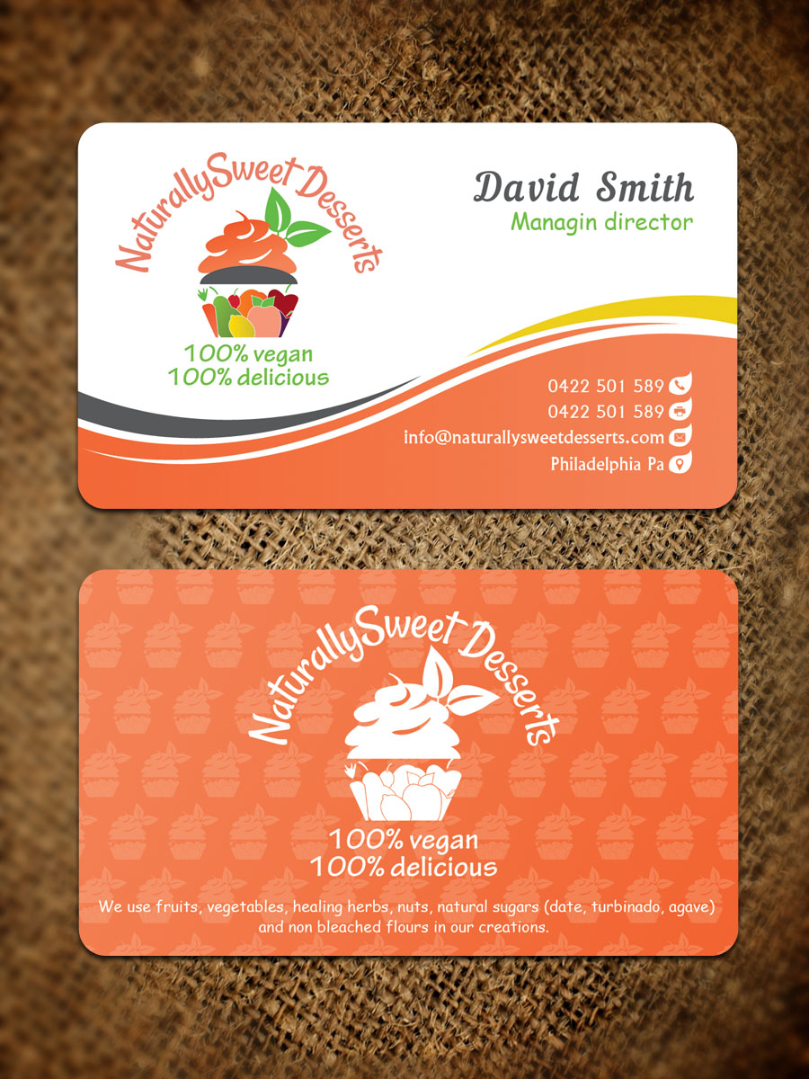 Business Business Card Design for NaturallySweet Desserts by ...