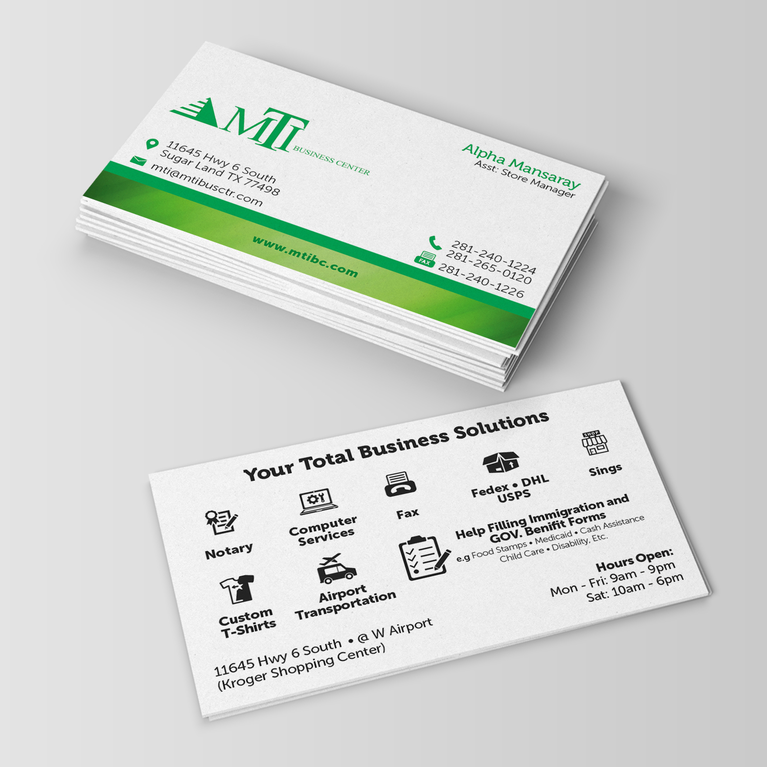 Business business card design for mti business center by annie white business business card design for mti business center in united states design 18205972 reheart Image collections