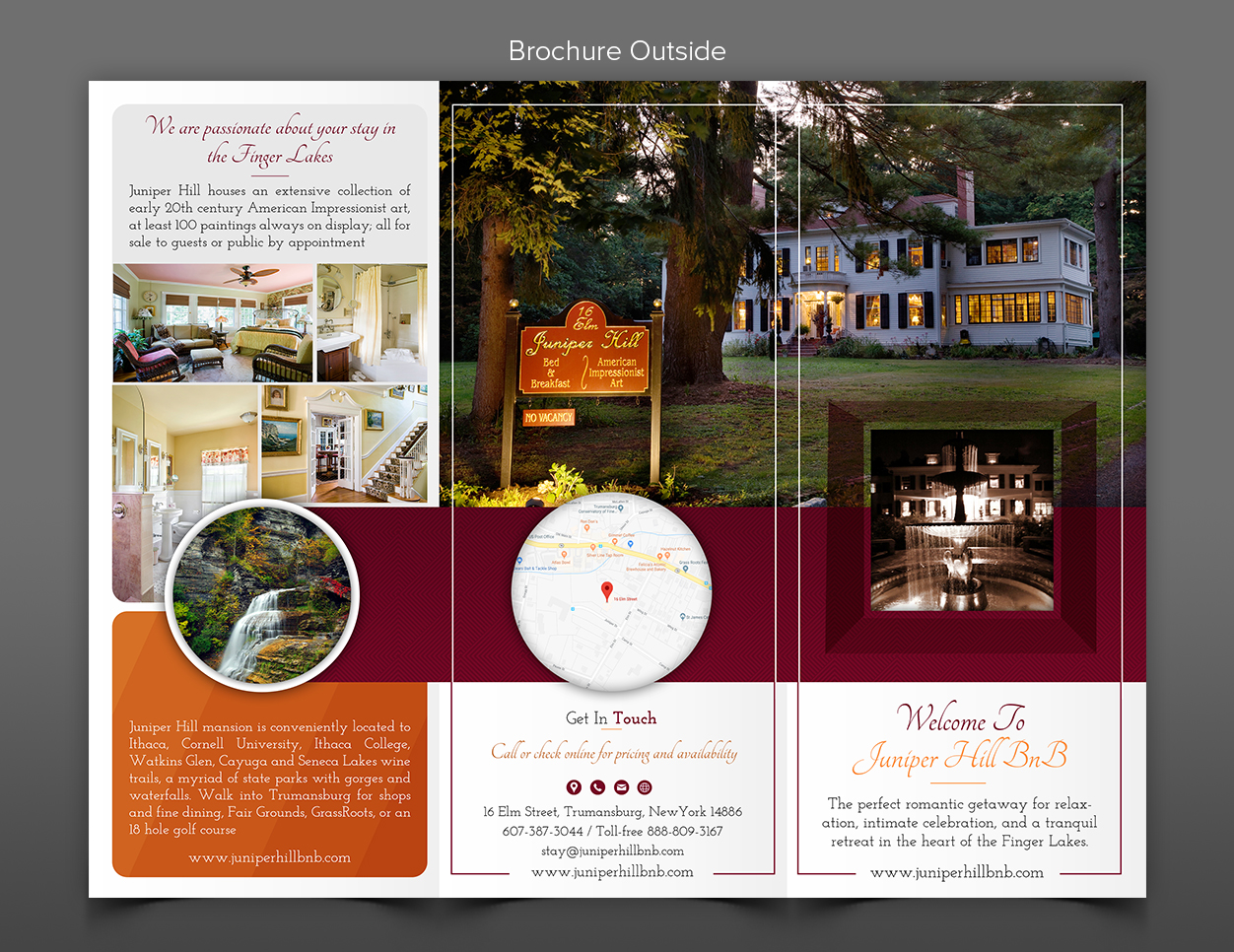 upmarket elegant hospitality brochure design for juniper hill bed