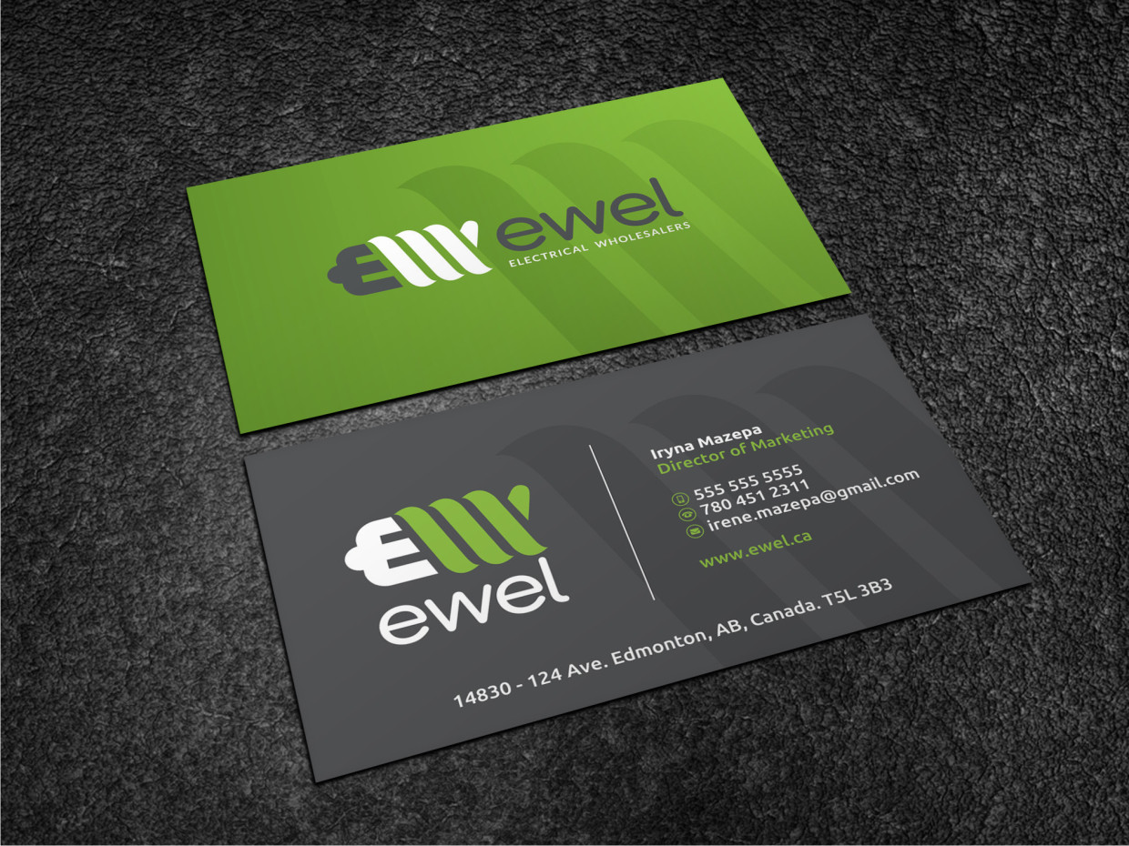 Bold professional business business card design for ewel by business card design by atvento graphics for ewel design 18174815 reheart Images