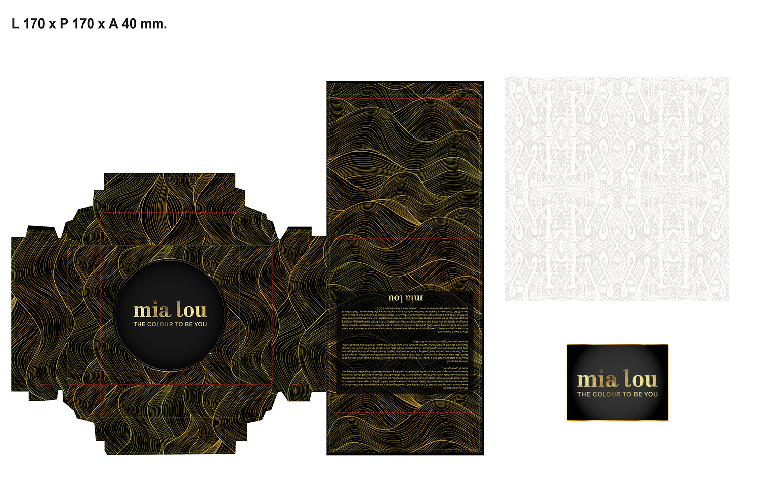 W superbly Elegant, Serious, Hair And Beauty Packaging Design for Mia Lou AG HY59
