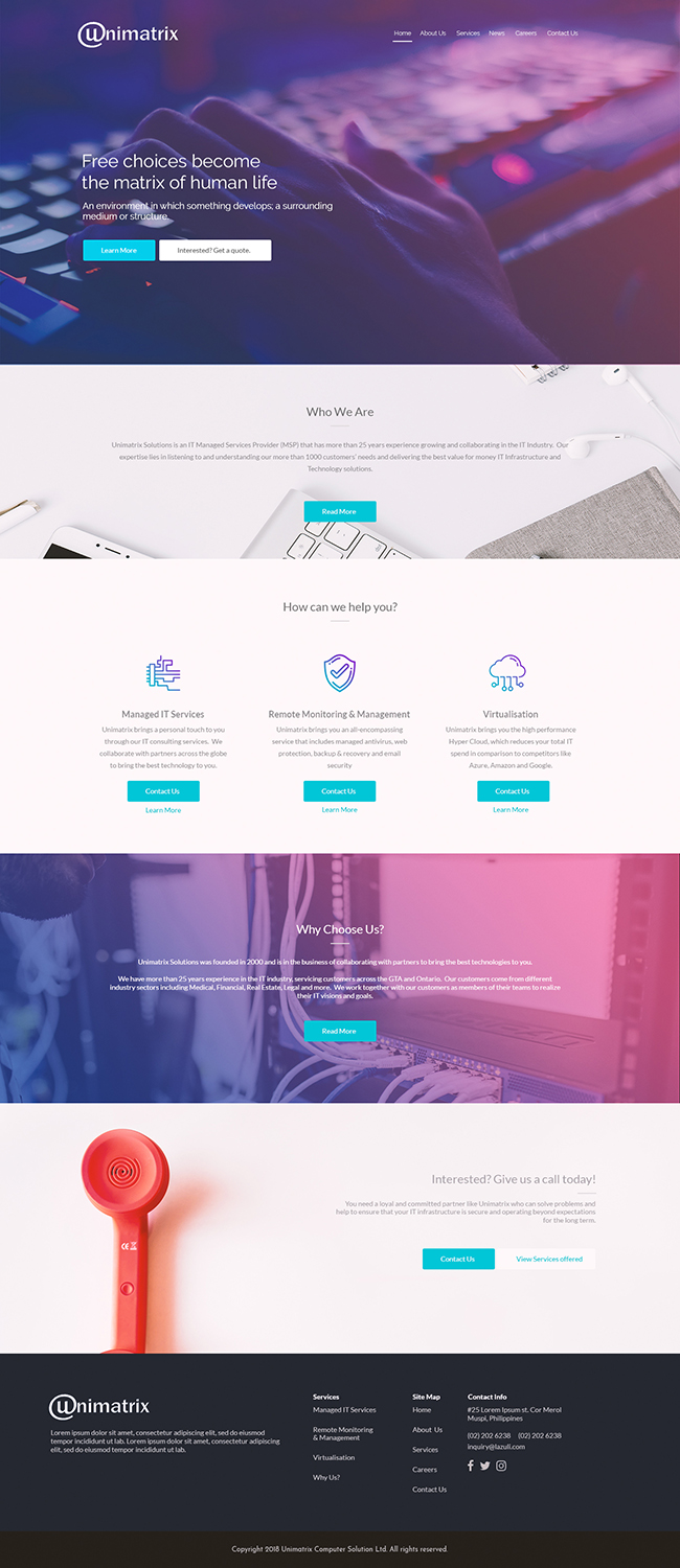 Traditional Professional Web Design For Unimatrix Solutions By Victor Design 18291839