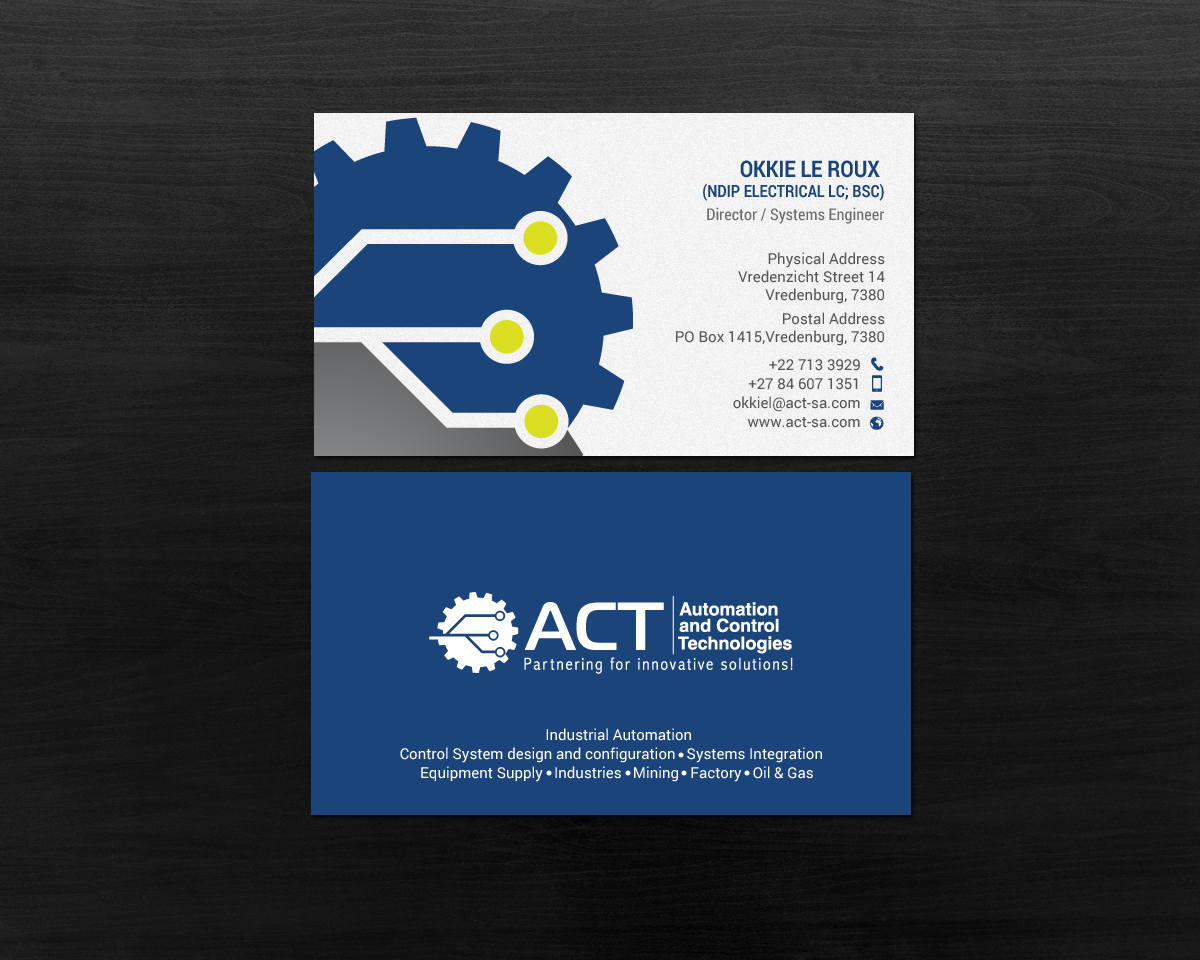 Professional conservative business card design for automation and business card design by chandrayaaneative for business card for industrial automation company reheart Choice Image