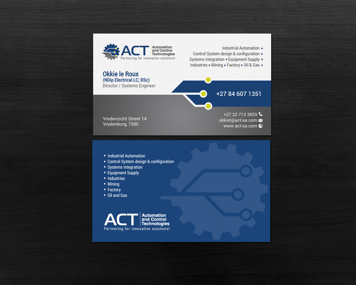 Professional conservative engineering consultant business card business card design by chandrayaaneative for automation and control technologies design 18273571 reheart Choice Image