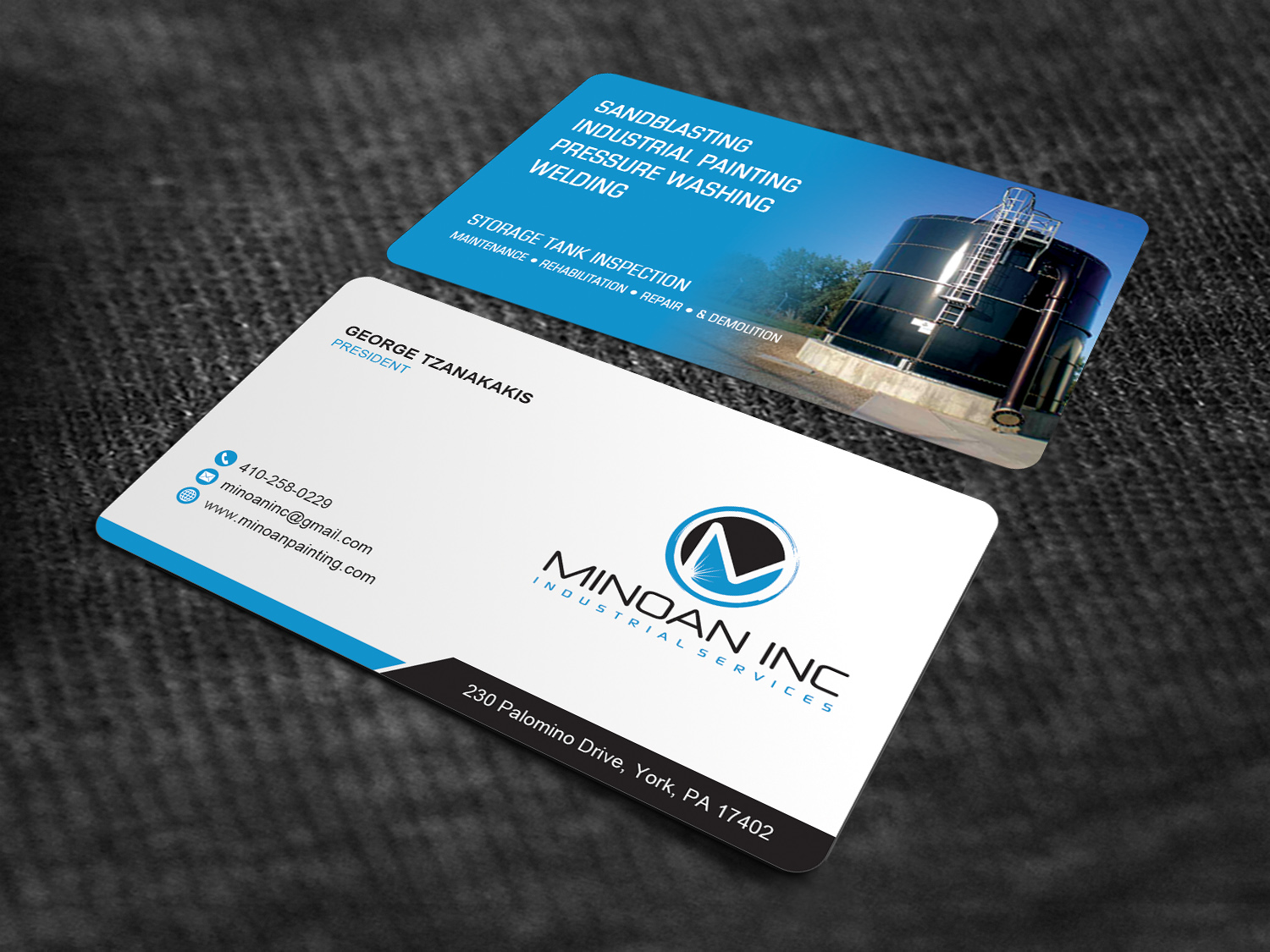 Serious masculine construction business card design for minoan business card design by sandaruwan for minoan inc design 18287567 reheart Image collections