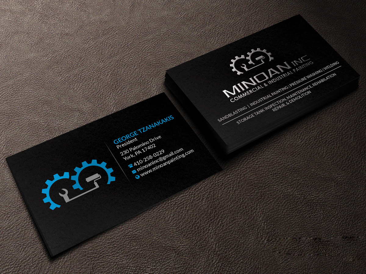 Serious masculine construction business card design for minoan business card design by creations box 2015 for minoan inc design 18278999 reheart Image collections