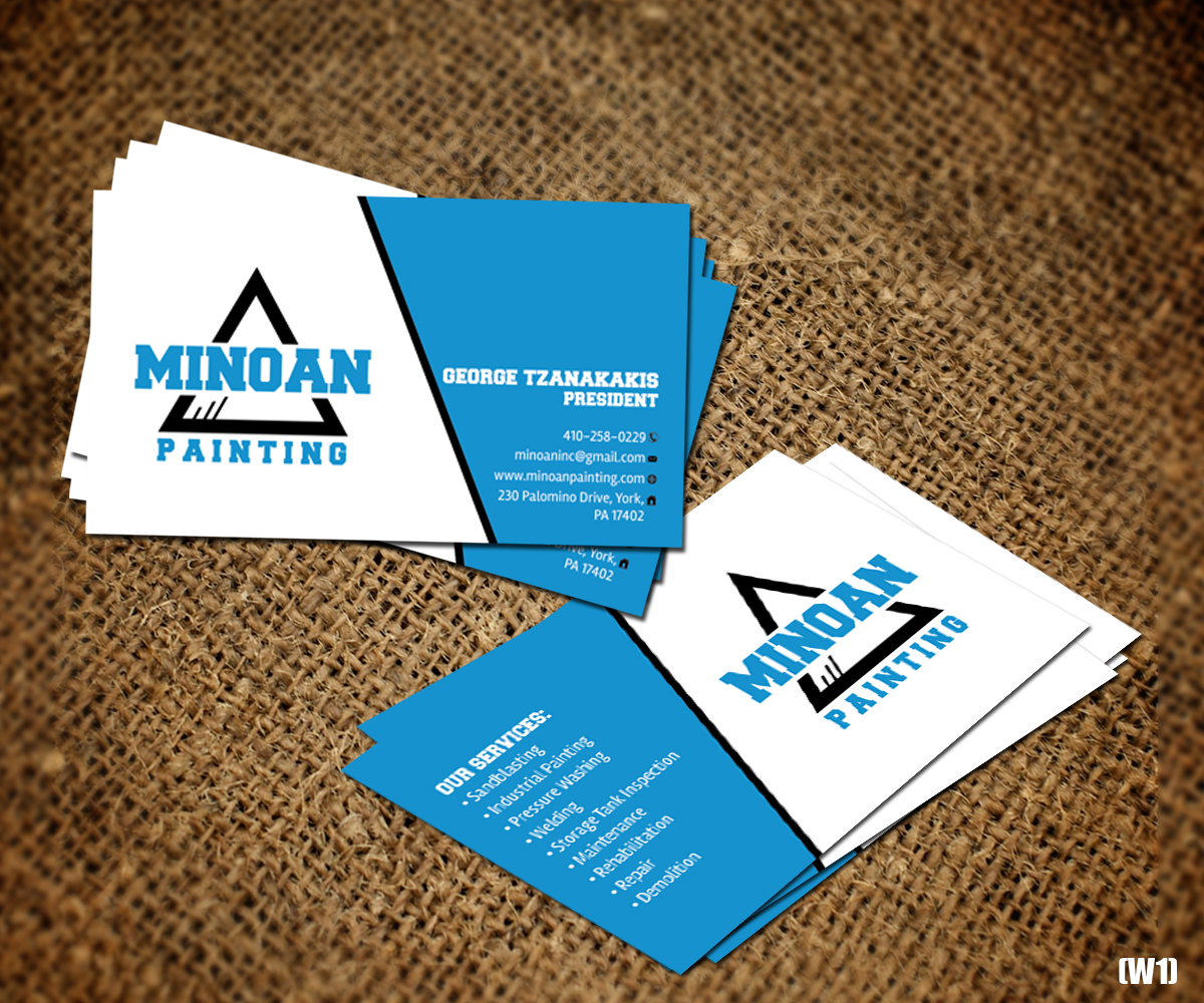 Serious masculine construction business card design for minoan business card design by designanddevelopment for minoan inc design 18282747 reheart Choice Image