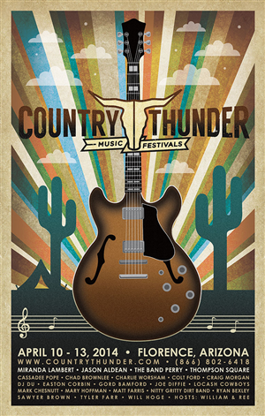 Poster Design by Roadside Arts - Country Thunder Arizona 2014 Poster