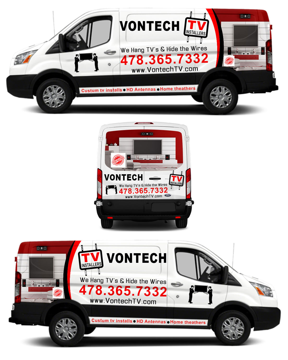 Modern, Professional Car Wrap Design for Vontech TV