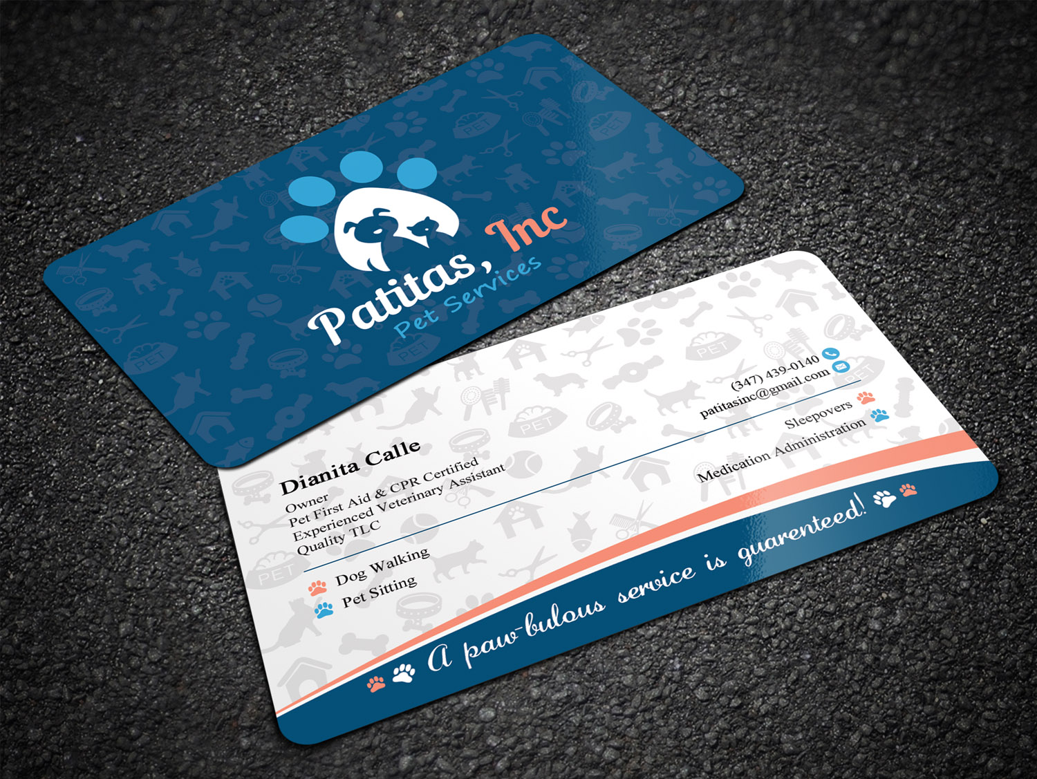 Playful Colorful Business Card Design For Patitas Inc By