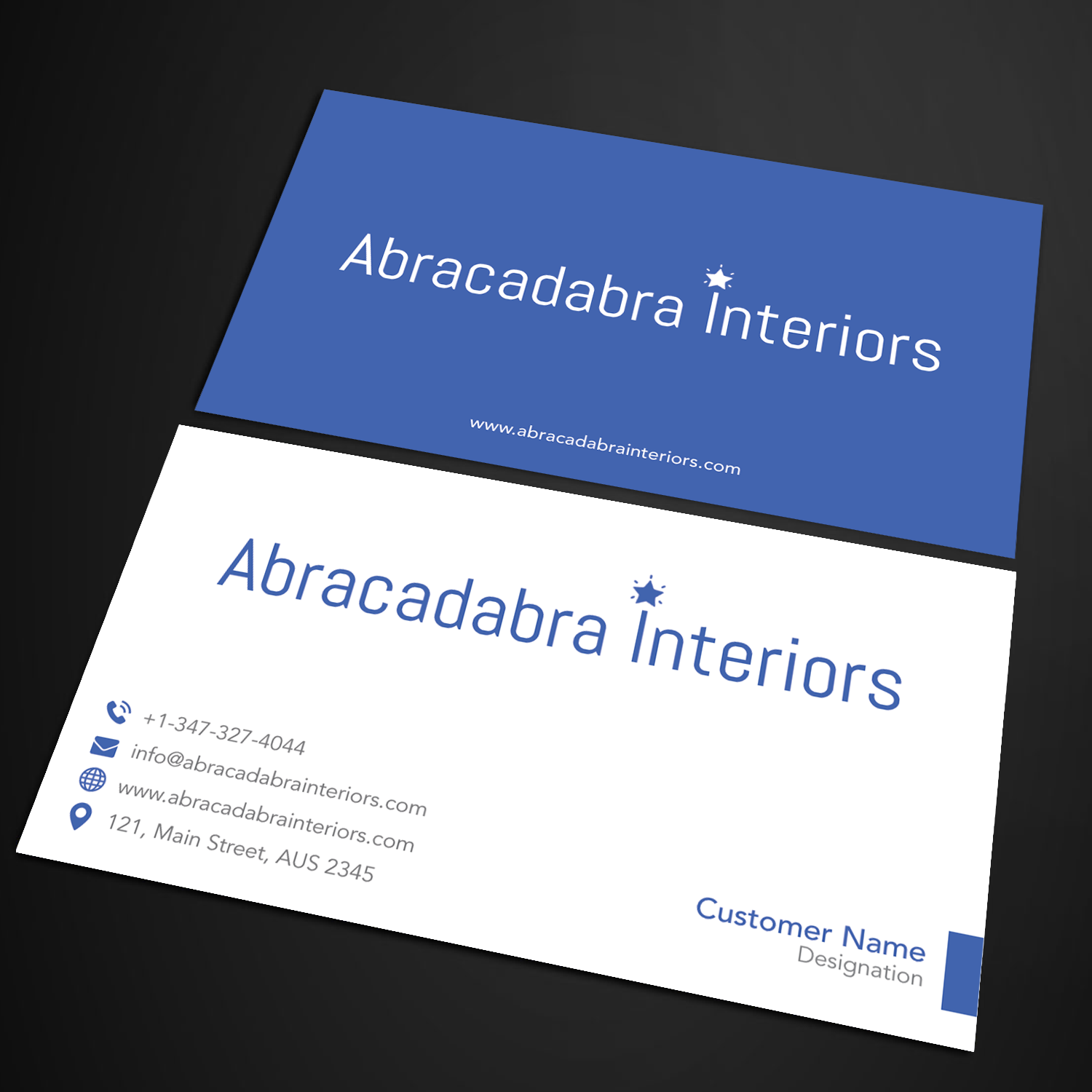 Elegant modern real estate business card design for abracadabra business card design by sandymanme for abracadabra interiors design 18392185 reheart Image collections