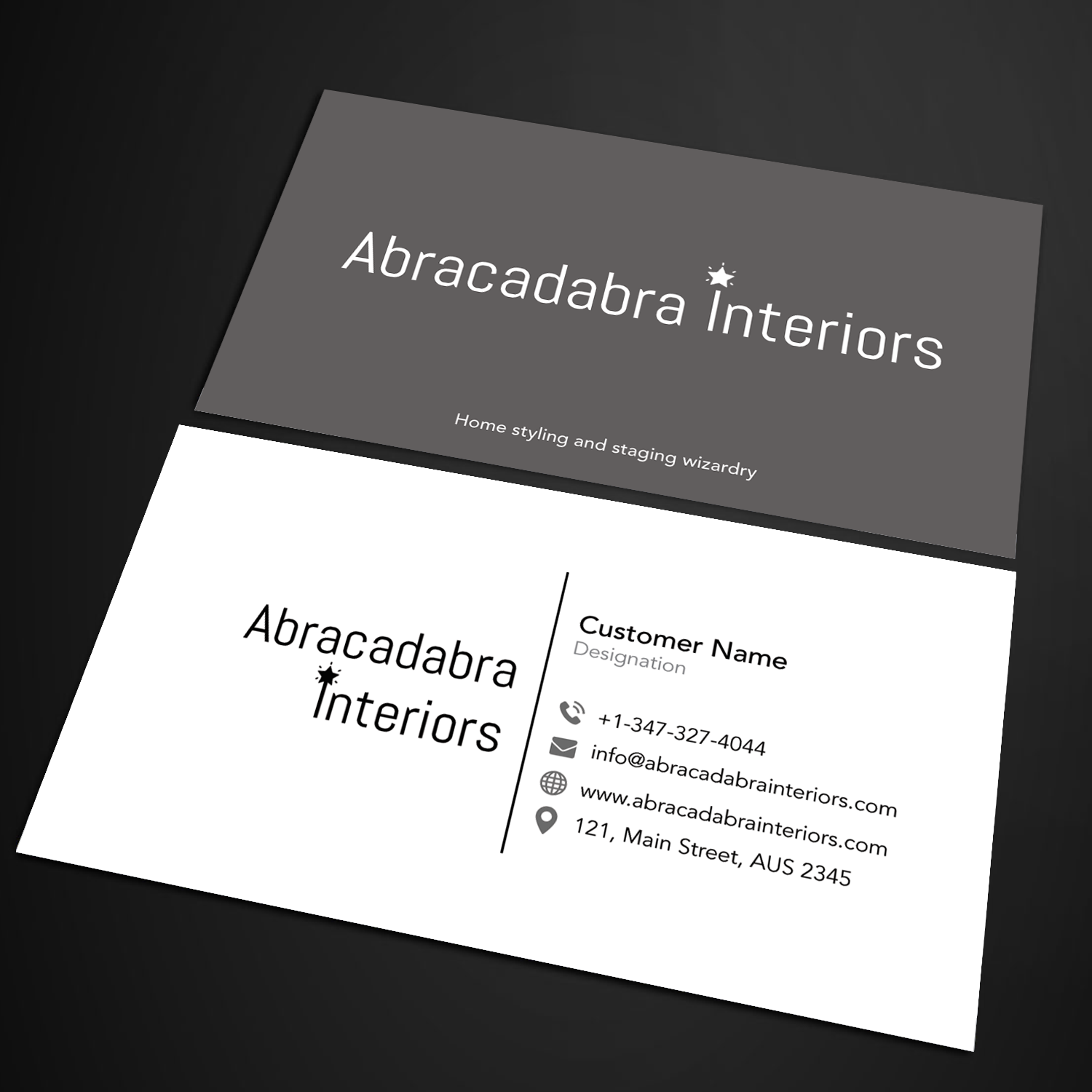 Elegant modern real estate business card design for abracadabra business card design by sandymanme for abracadabra interiors design 18392187 reheart Image collections