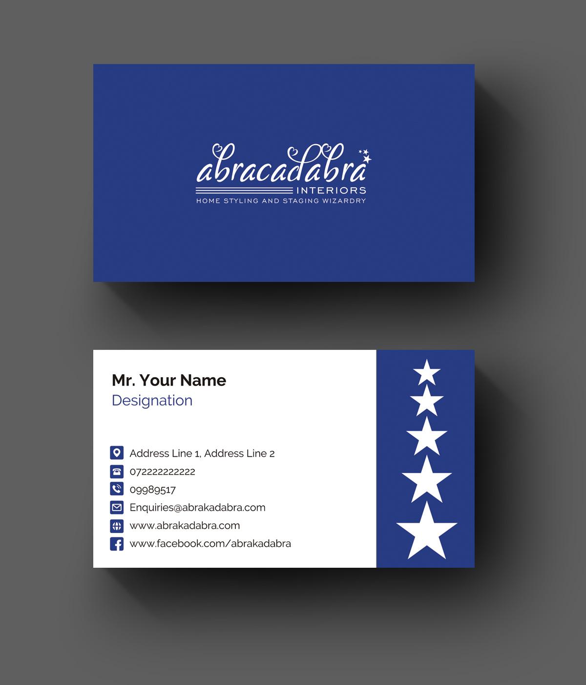 Elegant modern real estate business card design for abracadabra business card design by graphic junction for abracadabra interiors design 18391754 reheart Images