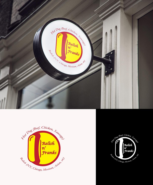Playful Modern Restaurant Signage Design For Relish N Franks By Beezu Design 18423769