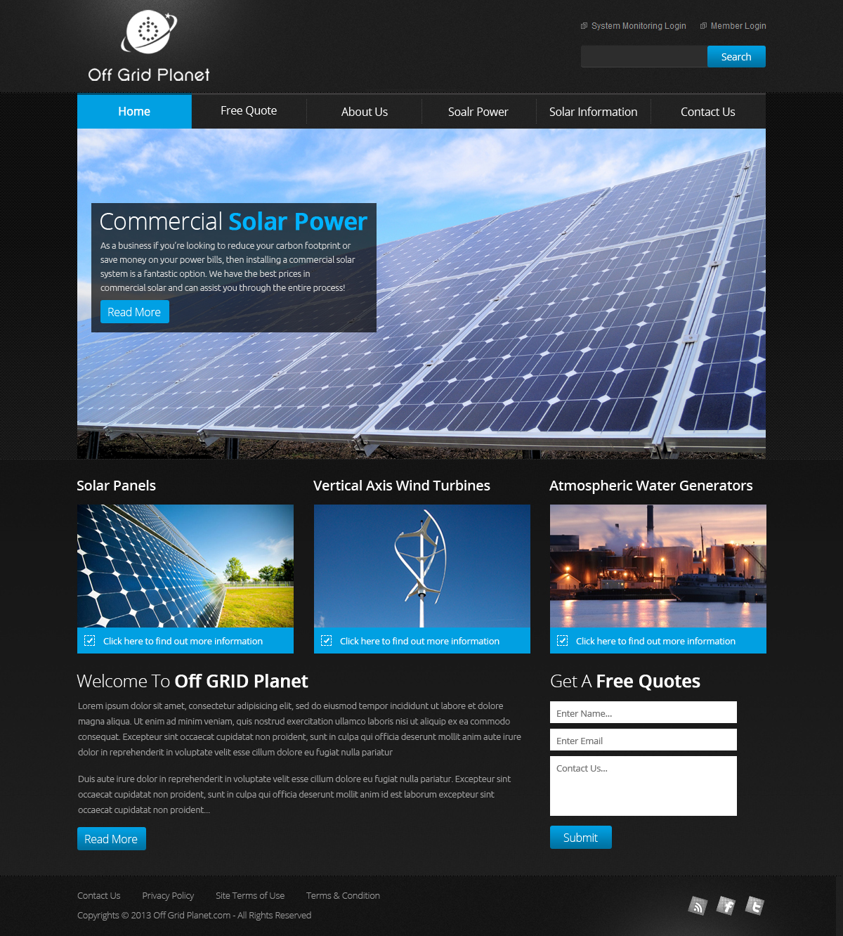 Serious, Modern, Government Web Design for Off-Grid Planet