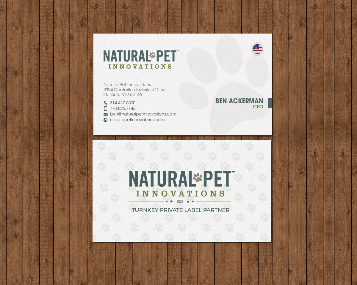 Masculine serious pet business card design for natural pet business card design by chandrayaaneative for natural pet innovations design 18546601 colourmoves