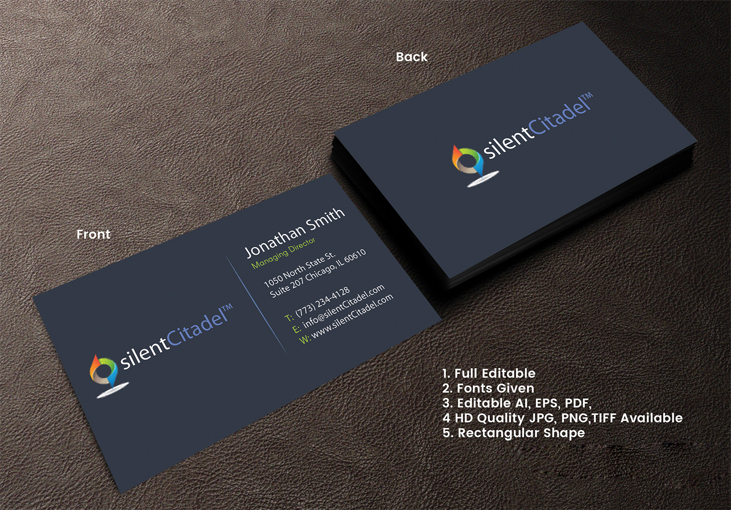 Elegant Playful Computer Security Business Card Design For