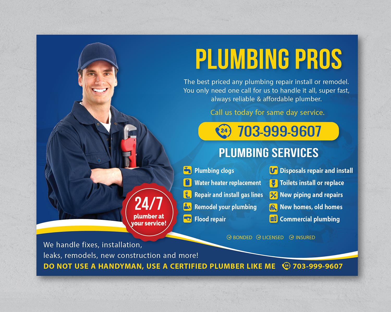 Upmarket Bold Plumbing Flyer Design For Plumbing Pros By Alex989 Design 18612988