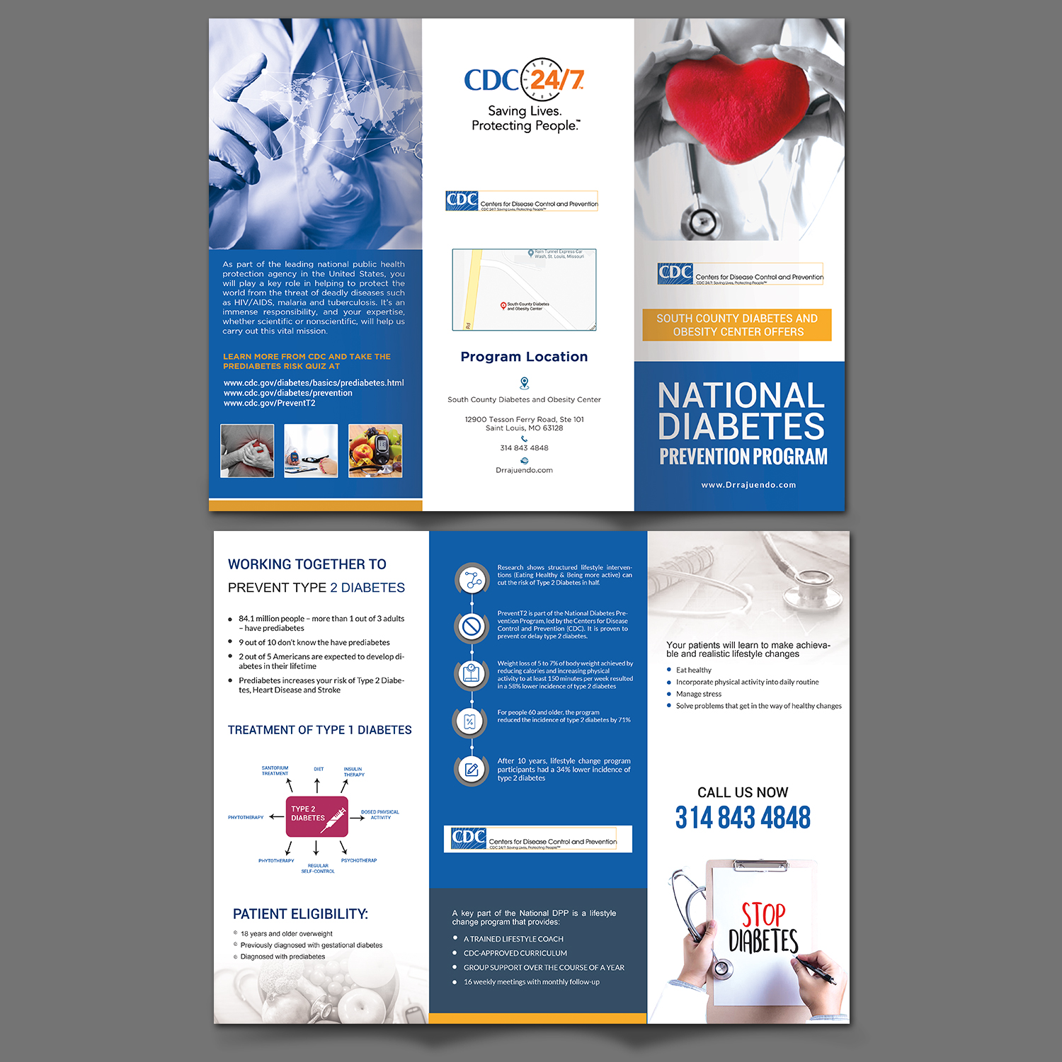 elegant playful flyer design for south county diabetes and obesity