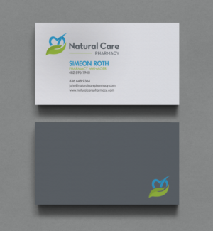 natural care pharmacy business cards business card design by chandrayaancreative - Pharmacy Business Cards