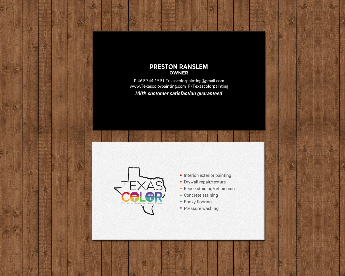Upmarket, Serious, Painting Business Card Design for Texas Color ...