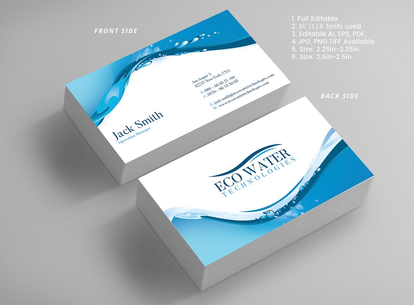 Design De Carte Visite Par Expert Designer Pour ECO Water Technologies Corp