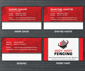 Vincemirano freelance business card designer logo designer business card design by vincemirano for woy woy fencing reheart Choice Image