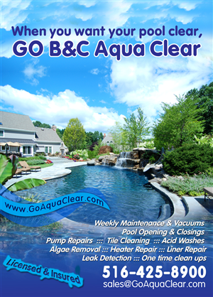 Flyer Design job – Flyer for swimming pool business – Winning design by aq3