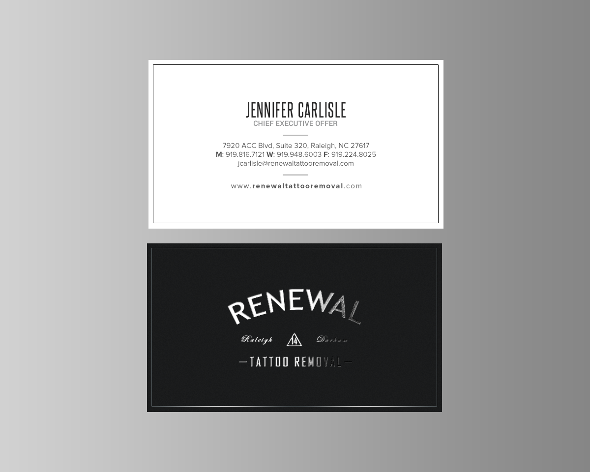 Bold serious business card design for renewal tattoo removal by bold serious business card design for renewal tattoo removal in united states design 18881852 reheart Choice Image