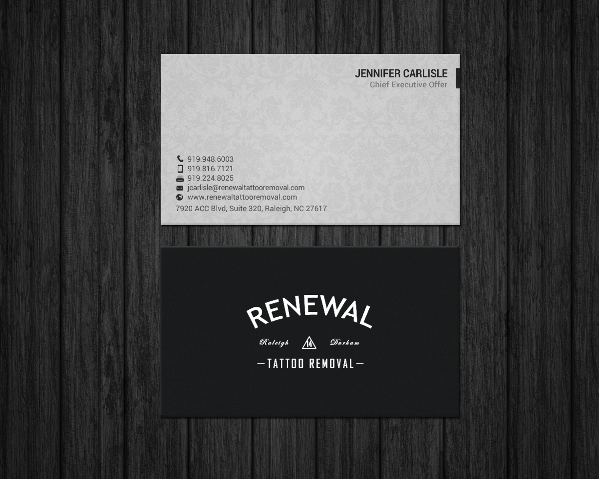 Bold serious business card design for renewal tattoo removal by bold serious business card design for renewal tattoo removal in united states design 18883722 reheart Choice Image
