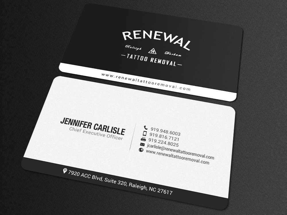 bold serious business card design for renewal tattoo removal by