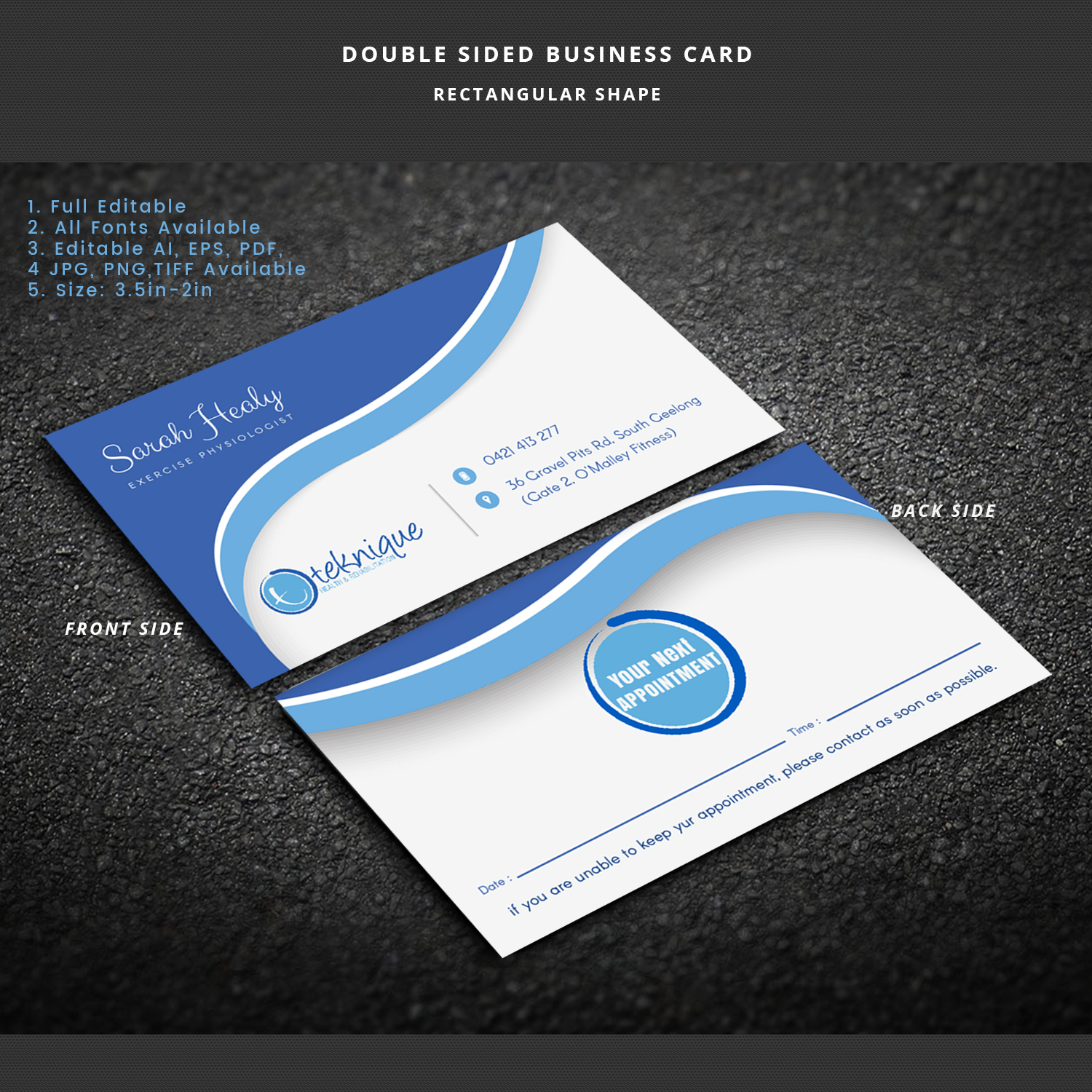 Modern bold health and wellness business card design for teknique business card design by expert designer for teknique health rehabilitation design 19000223 reheart Images