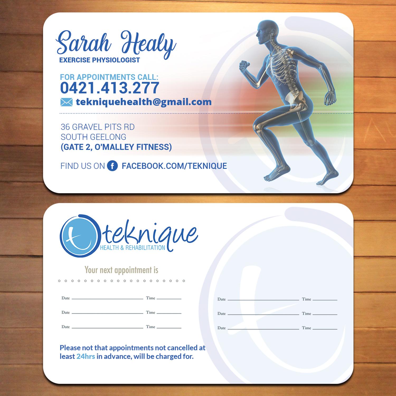 Modern bold health and wellness business card design for teknique business card design by creativmindsja for teknique health rehabilitation design 19011387 reheart Choice Image