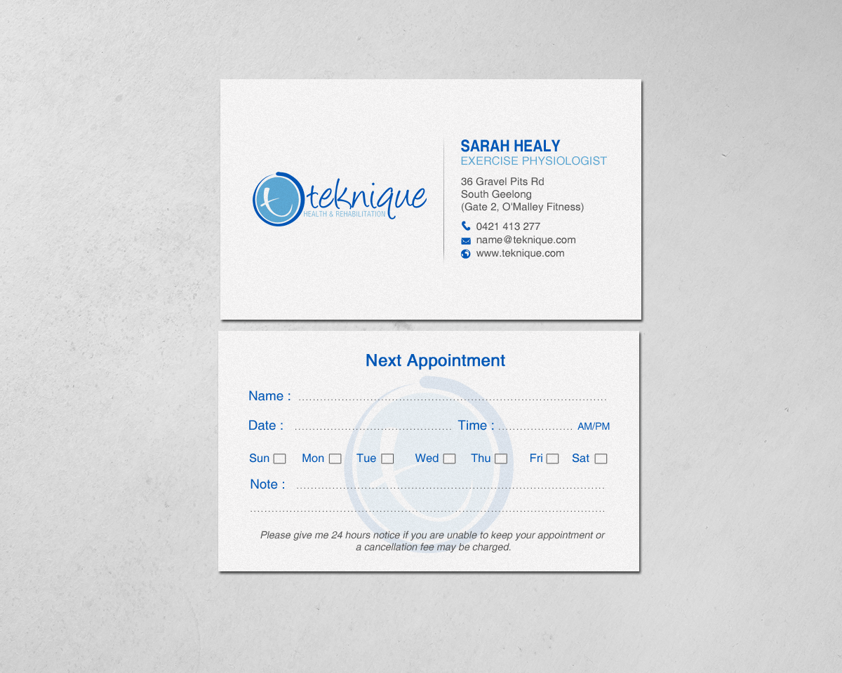 Modern bold health and wellness business card design for teknique business card design by chandrayaaneative for teknique health rehabilitation design 19007016 reheart Images