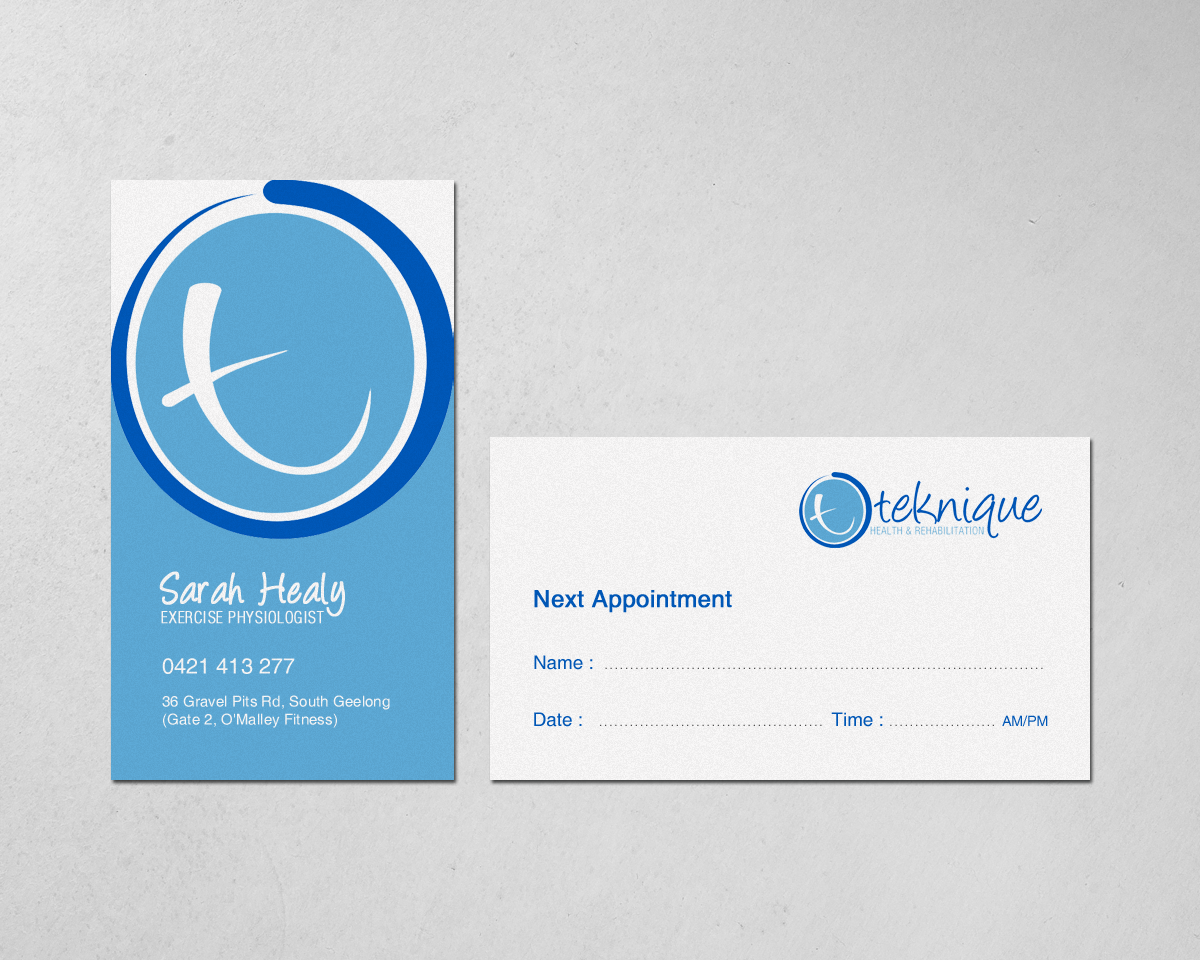 Modern bold health and wellness business card design for teknique business card design by chandrayaaneative for teknique health rehabilitation design 19007887 reheart Choice Image
