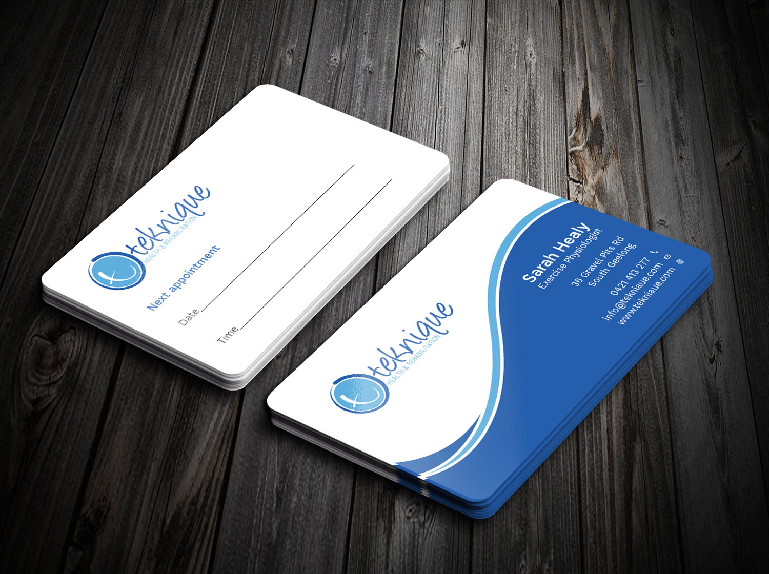 Modern bold health and wellness business card design for teknique business card design by avanger000 for teknique health rehabilitation design 19007130 reheart Choice Image