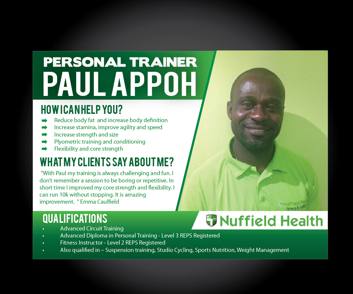 Definition of a poster design - Poster Design By Joliau For A5 Personal Trainer Profile For Nuffield Health Design 2845893