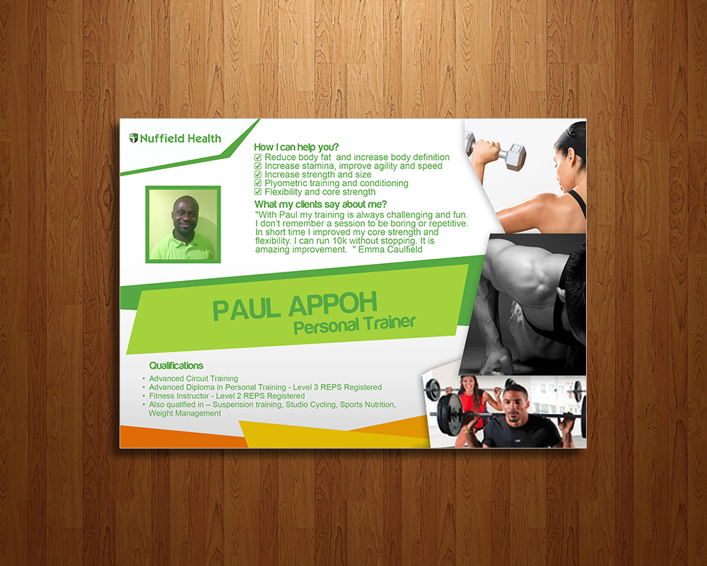 Poster design definition - Poster Design By Simple Boy For A5 Personal Trainer Profile For Nuffield Health Design