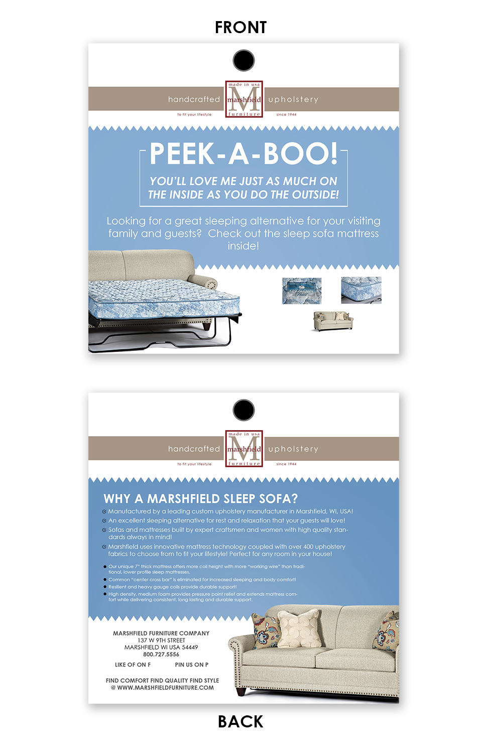 Upmarket, Personable Flyer Design for Marshfield Furniture by ...