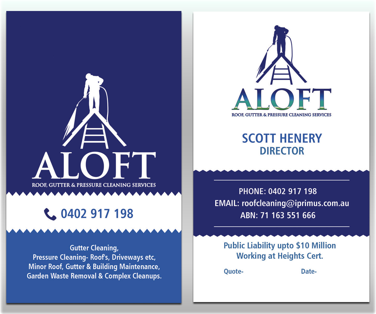 Business card cleaning services images business card template business business card design for aloft roof gutter pressure business business card design for aloft roof colourmoves